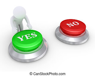 Person pressing the yes button