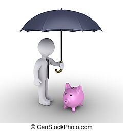 Person protecting pig money box with umbrella - 3d...