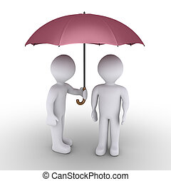 Person protecting with umbrella another one