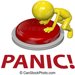 A 3D business man with a problem pushes a last resort PANIC button