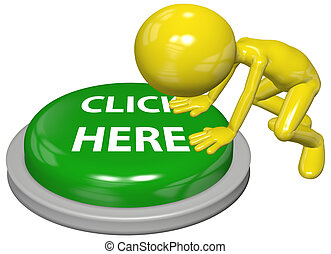 A 3D computer user character presses on a green CLICK HERE website link button