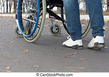 Person pushing a wheelchair
