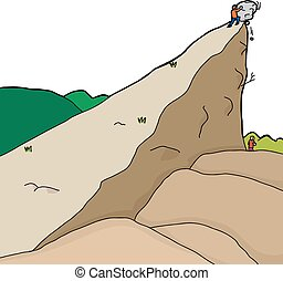 Person Pushing Boulder On Unaware Man