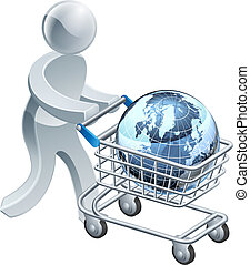 Person pushing trolley with globe - A person pushing a ...