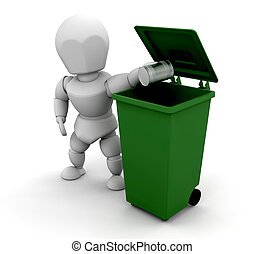 Person putting tin in bin