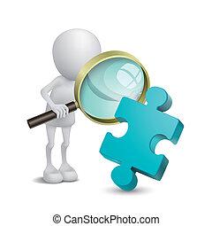 person, puzzel, untersucht, vergrößern, 3d