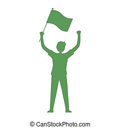 person raised hands with flag