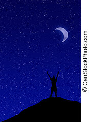 Person reaching up to the starry night sky