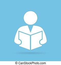 Person reading book, vector symbol
