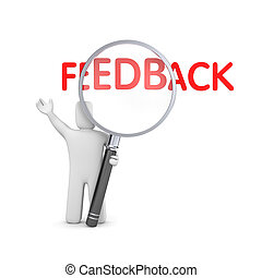 Person reads feedback