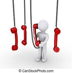 person, reden telefon, empfänger, und, andere, hängender , oben