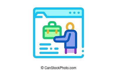 person resume information folder Icon Animation. color person resume information folder animated icon on white background