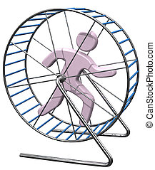 Person run in treadmill rat cage - Person gets nowhere...