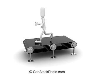 Person running on a treadmill.
