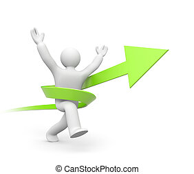 Person running to success - Success concept. Isolated on...