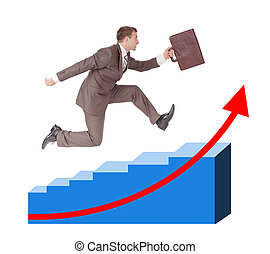 Person running with suitcase on chart