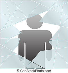Person safe injured or at risk broken glass - A symbol...