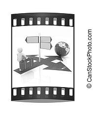 person., señal, tráfico, tira, película, 3d