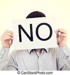 Person show Slogan NO