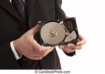 Person showing hard drive