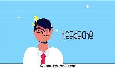 person sick with headache covid 19 symptom ,4k video animated