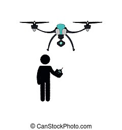 Person Silhouette Flying Drone