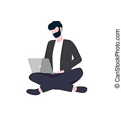Person Sitting Cross-Legged with Laptop Vector - Man in ...