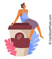 Person sitting on lid of paper coffee cup