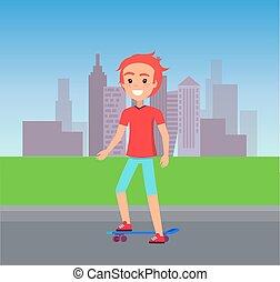 Person Skating at City Street Vector Illustration