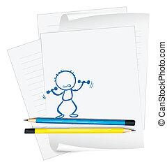 person, skitse, avis, exercising