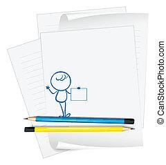 person, skitse, avis, tom, holde