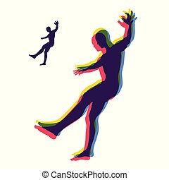 Person slipping and falling. Silhouette of a Man Fallen Down. Vector Illustration.