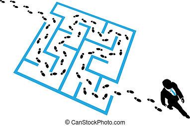 Person solves business problem maze puzzle