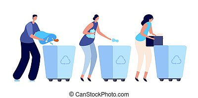 Person sorting garbage. Recycling dustbin, container for waste. Young people lifestyle, ecology activist plastic vector concept. Garbage container, recycling and segregation, sorting illustration