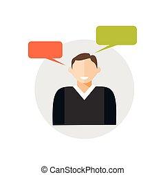 Person speaking symbol. Verbal communication icon.