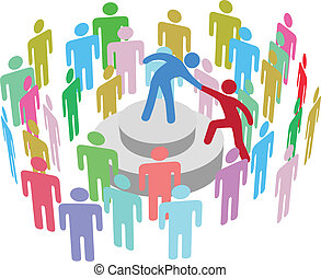 person, sprechen, gruppe, hilft, führer
