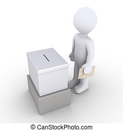 3d person holding an envelope is in front of a ballot box