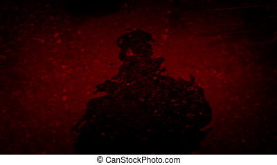 Person Standing By Water Blood Red Abstract - Dark figure...