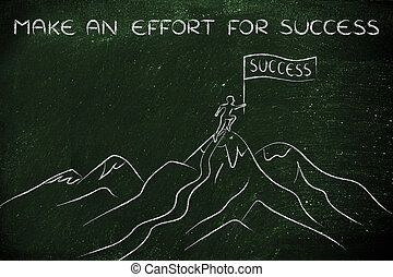 person standing on top of a mountain, an effort for success