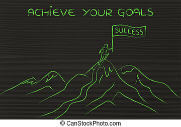 person standing on top of a mountain, achieve your goals