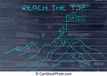 person standing on top of a mountain, reach the top