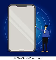 Person Standing Pointing to Huge Blank Screen Mobile with Shiny Effect and Holding a Gadget. Man Presenting Giant Smartphone with Reflection and Grasping Cellphone on Another Hand.