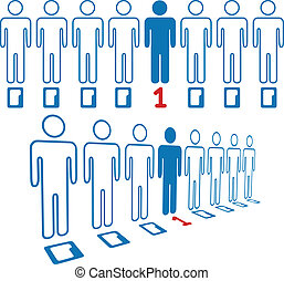 Person stands out line of digital people - Information age...