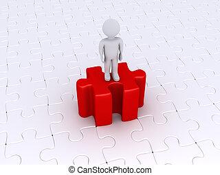 person, stehende , auf, hoch, puzzleteil