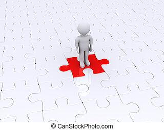 person, stehende , auf, verschieden, puzzleteil