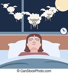person suffering insomnia - funny cartoon vector illustration