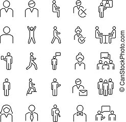 Person symbols, basic outline vector icons collection. Male, female and group of people basic positions.