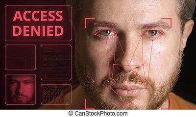 person., systeem, man's, toegang, computer, identificeren,...