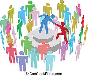person, tala, grupp, hjälper, ledare