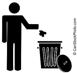 person throwing garbage into a trash can - figure of person...